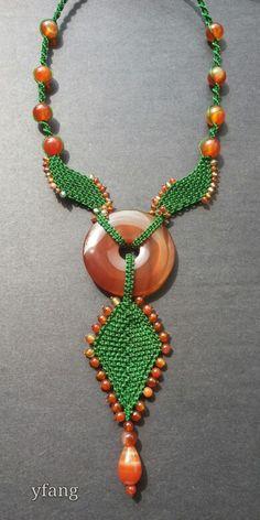 Green macrame necklace, full of carnelian..