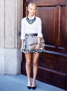Wear a subtle floral mini skirt and white button-down with a fun and fresh necklace. // #Fashion