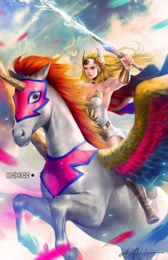 She-Ra and Her Pegasus (Swift Wind) by Alex Malveda / alex-malveda Cartoon Shows, Cartoon Characters, Catwoman, Arte Dc Comics, She Ra Princess Of Power, Rainbow Brite, Universe Art, Kawaii, Anime Manga