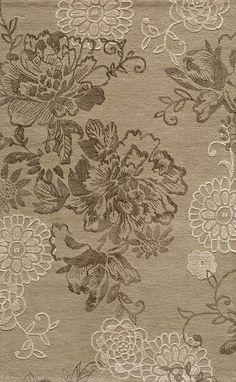 Light Taupe Ornate Floral Wool Rug