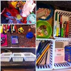 """Organize the dreaded """"junk"""" drawer in 3 easy steps. 1. Get rid of trash 2. Organize items into groups. 3. Arrange in baskets. The more baskets the better, but I just used what I have cause I'm cheap like that."""