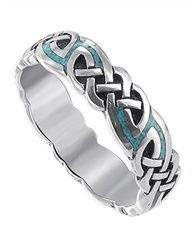 Sterling Silver Turqouise Inlay Celtic Southwestern Style 6mm Band