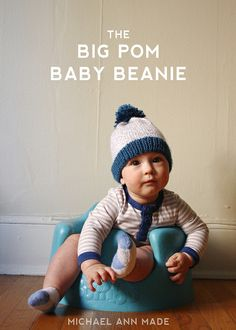 Cute and simple knit hat pattern for baby, with a pompom.