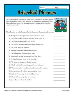 Adverbial Phrases Worksheet for - Grade Adjective Worksheet, Verb Worksheets, Printable Worksheets, Free Printable, Number Worksheets, Alphabet Worksheets, Spanish Words, Learn English Words, Adverbial Phrases