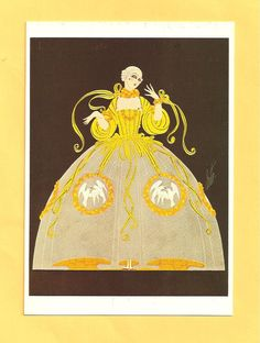 Costume by Erte for Ganna Walska in Manon, 1920 - POST CARD copyright 1984