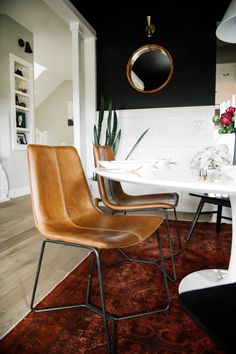 West Elm leather dining chairs | Suburban Bitches