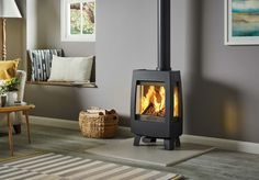 Continuing the Sheraton range's period styling, the Stovax 5 Wide wood burning and multi-fuel stove offers a more expansive flame view than the with a s Living Room Themes, Living Room Decor Inspiration, Solid Fuel Stove, Sophisticated Living Rooms, Stove Fireplace, Fireplace Ideas, Living Room Decor Traditional, Log Burner, My New Room