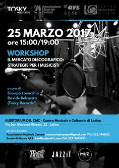Dear Friends, don't lose this interesting appointment, we will try to explain some things about a correct workflow during the release of a Cd Album. WHERE: Latina (Rome) - Via Don Giovanni Minzoni, 23 WHEN: March 25th 2017 TIME: h 15:00 to 19:00 COST: Eur 20,00 Info and subscription: Ass.Musicale Caetani : 328.3961122 - associazione@musicalecaetani.it ARS Scuola di Musica: 327.3695533 Tosky Records : press@toskyrecords.com #workshop #masterclass #strategies #musicbusiness #toskyrecords…