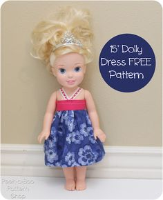 15″ Doll Dress Pattern---perhaps it will fit the Animator dolls, too...but easy to adjust if not.
