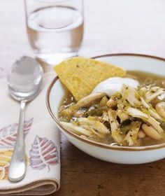Southwestern Chicken: You determine the soup's heat level, depending on whether you use a mild, medium, or hot salsa verde. Gooseberry Patch, Salsa Verde, Korma, Biryani, Ratatouille, Southwestern Chicken Soup, Mexican Chicken, Cooking Recipes, Healthy Recipes