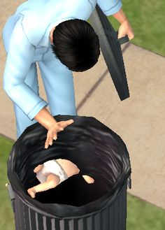 18 Heartbreaking Struggles Every Sim Will Understand: When someone puts your baby in the bin / More funny Sims 3 & 4 pins at http://www.pinterest.com/itsallpretty/the-sims-3-4/