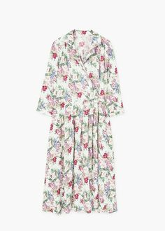 Flowy fabric Floral print Removable bow on the waist Shirt-style collar Wrap neckline Buttoned cuffs Floral Shirt Dress, Dresses With Sleeves, Long Sleeve, Shirts, Outfits, Mango, Fashion, Midi Length Dresses, Shirtdress
