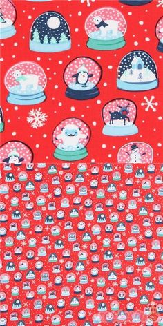 red cotton fabric with snow globes with Christmas trees, Santa Claus etc., very high quality fabric, typical great Ink & Arrow quality, Material: 100% cotton #Cotton #Items #Christmas #USAFabrics