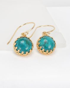 SALE - Gold Plated Eilat (chrysocolla) Gemstone Earrings, Gemstone Earrings, Green Earrings, Chrysocolla Earrings,  Bridesmaid Jewelry