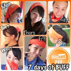 Ever wonder how to wear your BUFF (R)? BUFFs can be used for all different occasions.  To keep the sweat out of your face or to just tie your hair up. Who said runners can't be fashionable too? Here's a week's worth of my BUFF styles.  #BUFF #fashion #BibChat #BibRavePro #run #running