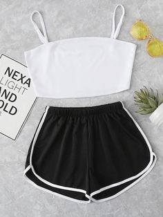 Shop Crop Cami Top With Striped Shorts online. SheIn offers Crop Cami Top With S. - Shop Crop Cami Top With Striped Shorts online. SheIn offers Crop Cami Top With Striped Shorts & mor - Cute Lazy Outfits, Crop Top Outfits, Sporty Outfits, Pretty Outfits, Stylish Outfits, Girls Fashion Clothes, Teen Fashion Outfits, Outfits For Teens, Woman Fashion
