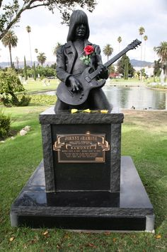 Johnny Ramone:  Hollywood Forever Cemetery:  Los Angeles, CA. We saw Bright Eyes play in this Cemetery. We saw this, but they were really weird about people getting too close to the memorials.