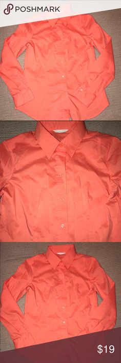 New York & Company Tangerine/Coral Button Down New York & Company Tangerine color button down shirt.   EUC. New York & Company Tops Button Down Shirts