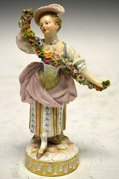 Antique Meissen Figure of A Flower Lady