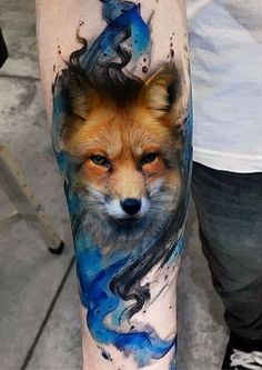 I like the blue n black combo - - Fuchs Tattoos - Wolf Tattoos, Red Fox Tattoos, All Black Tattoos, Animal Tattoos, Cute Tattoos, Beautiful Tattoos, Deer Tattoo, Raven Tattoo, Tattoo Black