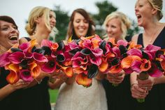 Calla Lily Bouquet Bride Bridal Pink Orange Bridesmaids Natural Rustic Hand Crafted Autumn Wedding http://www.epiclovephotography.com/