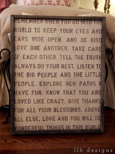 good words...i've been looking for this for the wall that my kids see going down the stairs! Love it!