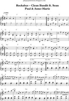 Resultado de imagen para notas de la cancion rockabye en piano