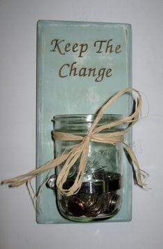 Shabby Chic Laundry Room Change Jar Hand Crafted Shabby Chic Sconce Shabby Chic Jar Laser Engraved