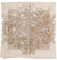 Donna Ruff, United States, Fanatic3, burn on book, Fanaticism, the outgrowth of enthusiasm, 8 x 8 in (vypaľovanie, perforovanie vzorov)