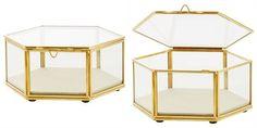 Gold Glass Hexagon Display Box