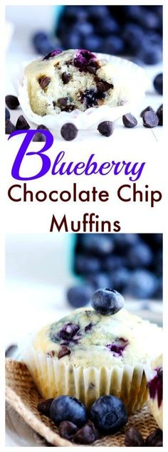 Blueberry Chocolate Chip Muffins - Delicious soft fluffy muffins studded with fresh blueberries and chocolate chips.  Bake up in 20 minutes. A summer favorite!