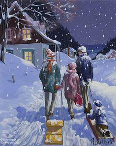 Rémi Clark, 'Les glissades chez grand-père', 16'' x 20'' | Galerie d'art - Au P'tit Bonheur - Art Gallery