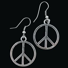 Celebrate peace and groovy hippie style with these classic silver peace sign earrings. Made of German silver (a metal mix of 60% copper, 20% nickel & 20% zinc), these sparkling earrings will show the world that you believe in peace, harmony, and looking great!