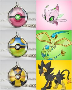 SHINY Pokemon themed pokeballs, Celebi ball, Flygon ball and Luxray ball #johto #megapokemon #treatsforgeeks