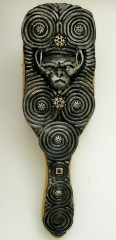Silver Gargoyle Guardian Hair Brush by TheTwistedCrafts on Etsy, $19.00