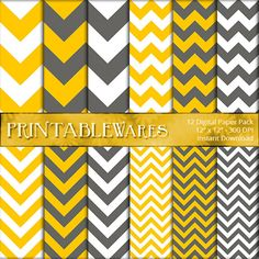 Yellow Gray Chevron Digital Paper Pack for by PrintableWares, $3.50