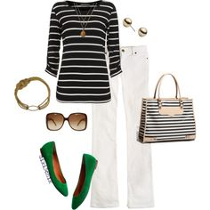 stripes and a pop of kelly green, created by dixi3chik on Polyvore