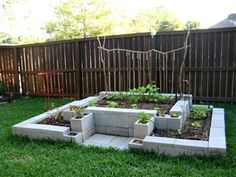 this cinder block garden construct sure looks cool!