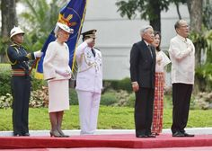 "Emperor Akihito and Empress Michiko attend a welcoming ceremony at Malacanang Palace  Manila Wednesday Jan 27 2016, with Philippine President Benigno Aquino..""Fierce battles between Japan and the United States took place on Philippine soil, resulting in loss of many Filipino lives leaving many Filipinos injured,"" at a banquet Wednesday night he added...'it is a thing which should not be repeated again,"" Takashima stated that.. ""He has strong feeling toward war and the reason he came here."""