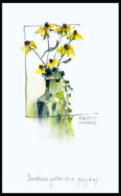 Drawing Breath - pretty spring flower sketch
