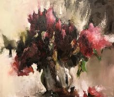 Original Floral Painting by Boris Presler Burgundy Flowers, Red Flowers, Oil On Canvas, Canvas Art, Grey Wall Decor, Original Paintings, Original Art, Flowers Vase, Contemporary Coffee Table