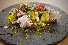 Juan Contreras's pistachio-chocolate landscape at Atelier Crenn. New pastry chef seems to have grasped the concept rather perfectly
