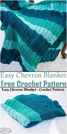 Free Crochet Blanket Patterns To Try This winter Chevron Crochet Patterns, Crochet Throw Pattern, Striped Crochet Blanket, Crocheted Afghans, Crocheting Patterns, Afghan Patterns, Crochet Blankets, Sashay Crochet, Free Crochet