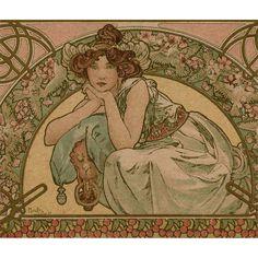 Original Alphonse Mucha Lithograph French Postcard Art Nouveau Cherry Blossom