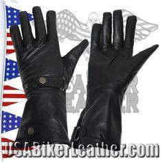 Long Leather Summer Riding Gauntlet Gloves / SKU USA-GL2064-DL