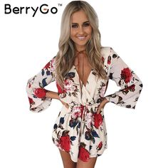 BerryGo Boho floral elegante mono del mameluco del verano de Las Mujeres sexy cuello en v de una pieza overoles playsuit Beach sashes gasa blanca