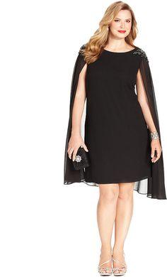 Xscape Plus Size Embellished Chiffon Capelet Dress Dresses