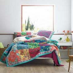 Neela Polka Dot and Floral Print Quilt King Quilt Sets, Monogram Towels, Dorm Essentials, The Company Store, King Bedroom, Cotton Quilts, King Beds, Flat Sheets, Furniture