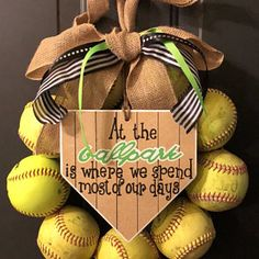 Baseball Wreath, Burlap With Initial Made Using Real Leather Baseballs Softball Wreath, Baseball Wreaths, Softball Crafts, Painted Wooden Signs, Wooden Tags, Burlap Bows, Burlap Wreath, Baseball Party Supplies, Baseball Nursery