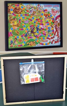 Game Board Storage Art  Use an inverted shadow box as storage for pieces.